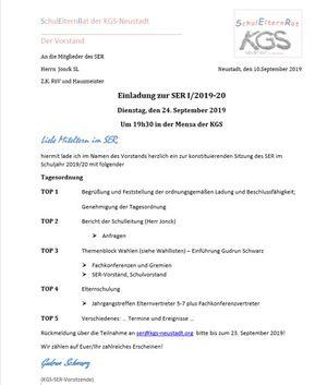 Einladung zur Schulelternratssitzung