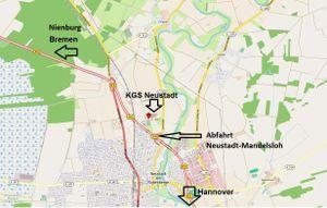 Die KGS Neustadt nahe an der B6 zwischen Bremen und Hannover