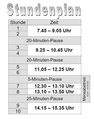 Der Stundenplan im 80-Minuten Modell