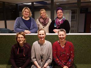 Der Vorstand des Fördervereins - von oben nach unten und links nach rechts: Frau Eitner, Frau Welsch, Frau Thomsen, Frau Jordan, Frau Asmus, Frau Maniera